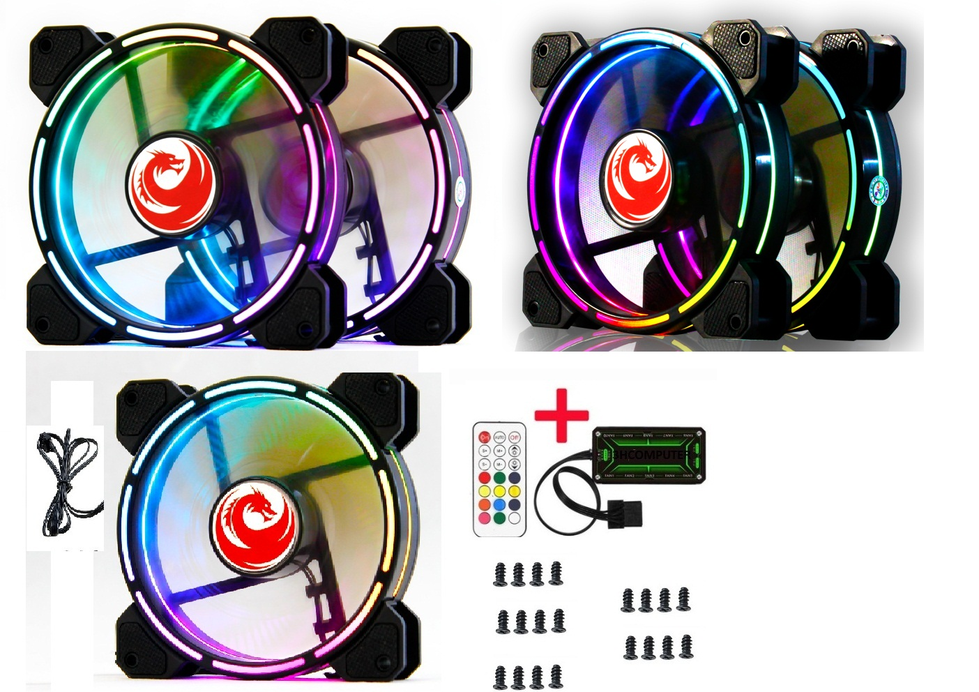 Bộ 5 Fan LED RGB RED DRAGON V9 - HUB -REMOTE -VÍT