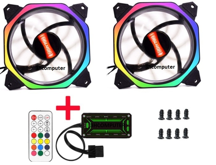 Bộ 2 Fan Case Coolmoon Led RGB Symphony (Ver 8) - Kèm Hub + Remote 2019 3hcomputer