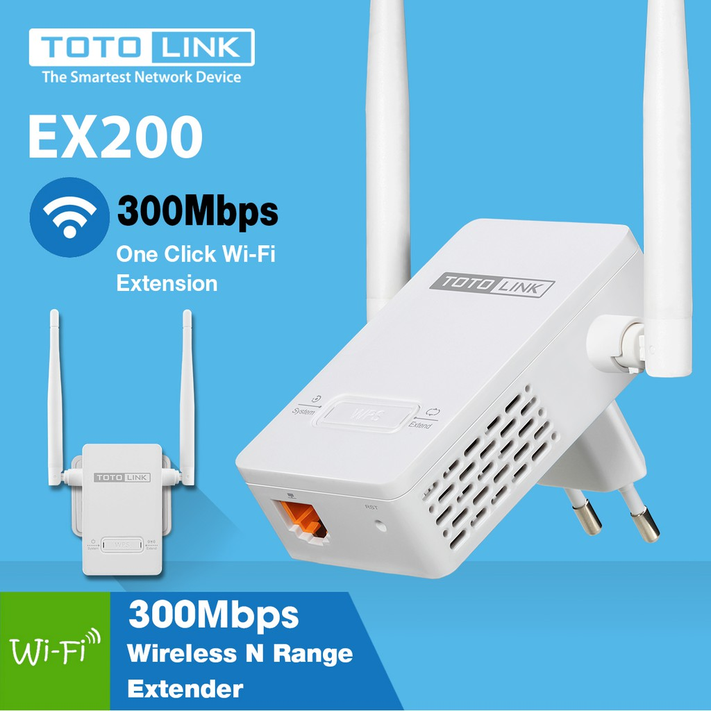 Bộ Kích Sóng Wifi TotoLink EX200 Repeater 300Mbps - 2 anten