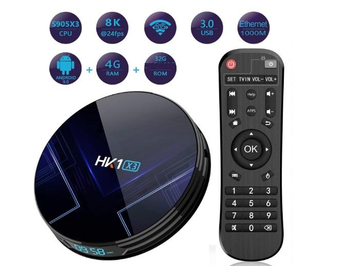 TV BOX HK1 X3 (Amlogic S905X3/ 4G/ 32G/ Android 9.0/8K 24fps/5G/USB 3.0)